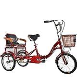 OHHG Bicicletas 3 Ruedas Triciclo Adultos 16 Pulgadas Asiento Trasero Cesta la Compra Bicicleta una Velocidad Personas Mayores, Mujeres Hombres (Tres Colores) (Color: Rojo)