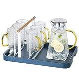 MZHEHAOAN 1,6 Liter Glaskrug mit Deckel Eistee Wasserkrug heißes kaltes Wasser EIS Tee Wein Kaffee Milch und Saft Getränke Karaffe Anzug (mit Getränkehalter)