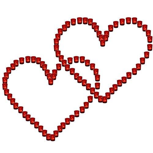 Lichterbecher 2x Herz rot Hochzeit Illuminationsbecher Teelicht Teelichthalter Herzform Basteln Tischdeko
