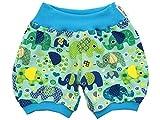 Kleine Könige Kurze Pumphose Baby Jungen Shorts · Modell Elefantenparty türkis Petrol hell · Ökotex 100 Zertifiziert · Größe 74/80