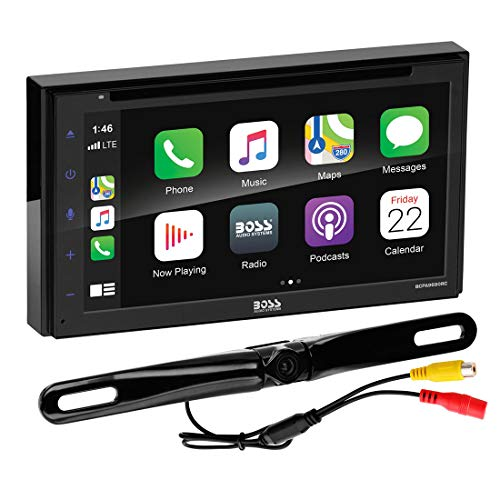 BOSS Audio Systems BCPA9690RC Apple CarPlay Android Auto Car DVD Player with Rearview Camera - Double-Din, 6.75 Inch LCD Touchscreen, Bluetooth, MP3 Player, USB Port, AM/FM Radio Receiver