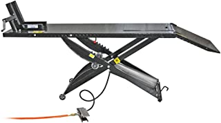 Rage Powersports Air Operated Motorcycle Lift Table with Wheel Chock & Drop Panel
