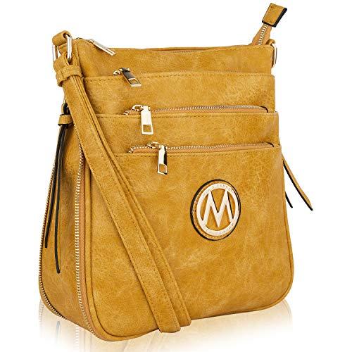 MKF Crossbody Bag for Women – PU Leather Expandable Messenger Purse – Designer Pocketbook Handbag Shoulder Strap Mustard