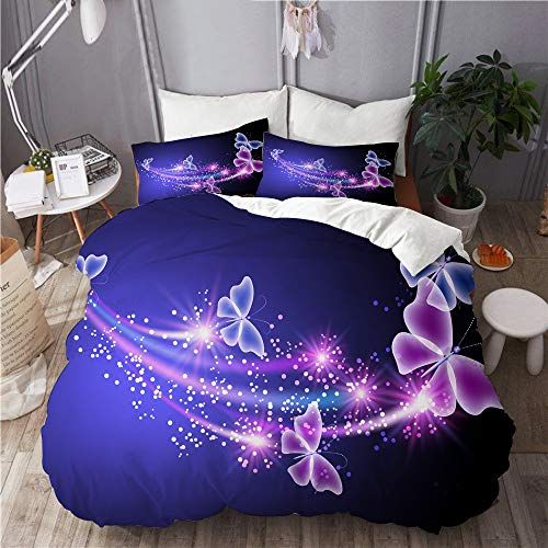 DAHALLAR bedding-Duvet Cover Set,Fairy Tale Butterfly Elf,Microfibre 260x220 with 2 Pillowcase 50x80,Super King