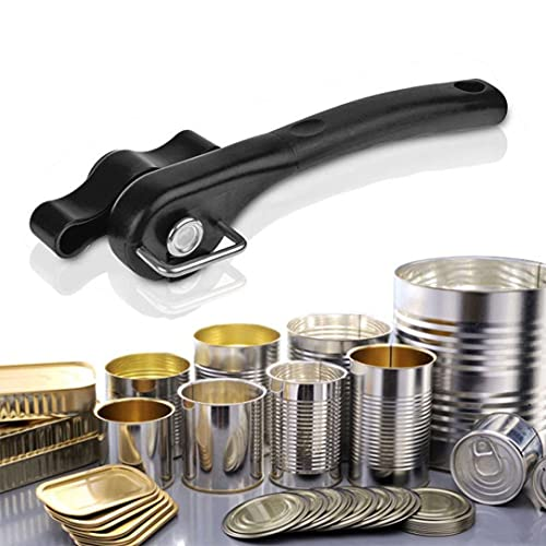 【US Stock 】 Multifunction Stainless Steel Safety Side Cut Manual Can Tin Opener, 8.1 inch, Black