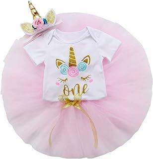 Frecoccialo 3 Pcs Tenues pour Nouveau-né Fille Barboteuse+Tutu Jupe+Corne Serre-tête Body Robe 1er Anniversaire Enfant Fille