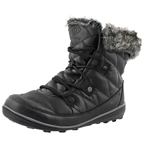 Columbia Columbia Women's Heavenly Shorty Omni-Heat After Dark Lace Up Snow Boots, Black Leather, 10 M