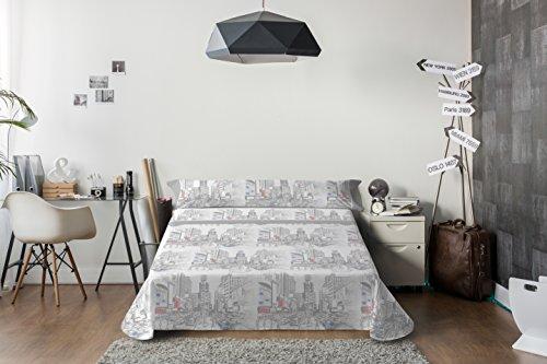 Lois urbe juego de sábanas 3 piezas, 50% algodo 50% poliester, gris cama 135x190/200