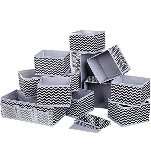12 PCS Dresser Drawer Organiser Fabric Storage Box Foldable Wardrobe Storage Organiser Drawer Dividers Storage Cubes for Bras, Socks, Underwear, Ties, Scarves, Cosmetics (Light Grey)