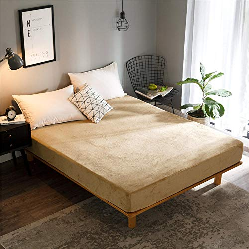 GTWOZNB Bed Sheets, Ultra Soft Silky Smooth and Wrinkle-Resistant Winter bed sheet single piece thickening-camel a38_180*200+25cm