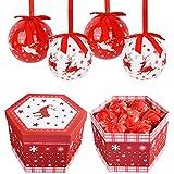YILEEY Bolas de Navidad Hechas a Mano 14 pcs - Ø 7.5 cm Caja de Regalo de Bolas Arbol de Navidad...