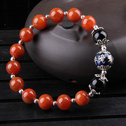 Toltec Lighting Feng Shui Bracelet Natural South Red Agate 925 Silver Six-Character Mantra Bangle Good Luck Recruiting Peach Blossom Wealthy Love Amulet Bracelet for Women