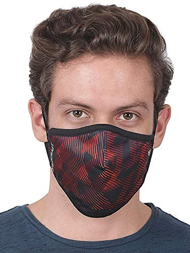 WILDCRAFT SUPERMASK W95 Plus Reusable Outdoor Respirator with neckband - SUBLIMATION TRIZI (PACK OF 3, SUBLIMATION TRIZI RED) LARGE