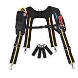 Padded Tool belt Suspenders for Men Heavy Duty Work Suspenders with phone Holder Electrician Tool Suspenders with Pencil Sleeve Carpenters Rig with Adjustable Straps