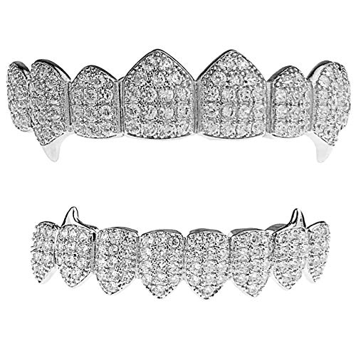 Vampire Fangs CZ Grillz Set Silver Tone 8 Top and Eight Bottom Teeth Iced Bling Grills
