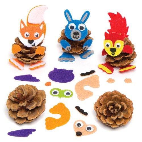 Baker Ross Dekorationsset mit Waldtieren aus Tannenzapfen, kreatives Set für Kinder zum Dekorieren und Präsentieren, Herbstbastelwaren (6 Stück)