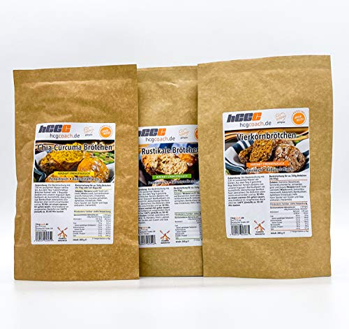 hCGC® Brötchenbackmischung (3x 200g) | 28g - 33g Protein | Nur 1,5g - 1,6g Kohlenhydrate | Lower Carb und Keto geeignet | Mit prebiotischen Ballaststoffen