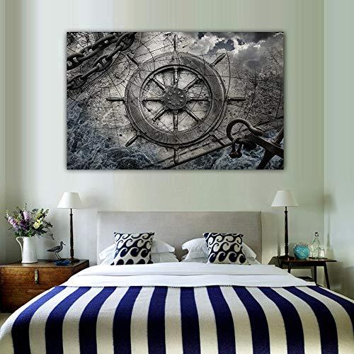 Ruder Retro Kunst Leinwand Wohnzimmer Ölgemälde Druck Navigation Eisenkette Poster Wandkunst Leinwand Familie rahmenlose dekorative Malerei A90 50x70cm