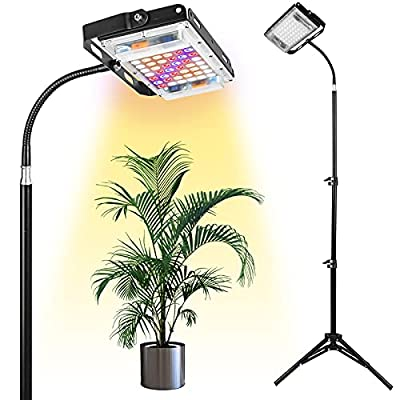 Grow Light with Stand, LBW Full Spectrum 150W LED Floor Plant Light for Indoor Plants, Grow Lamp with On/Off Switch, Adjustable Tripod Stand 15-47 inches