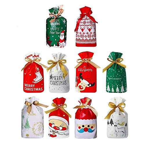 Feliciay 50 Pz Sacchetti di Caramelle di Natale Regalo con Coulisse Sacchetto di Plastica per Dolci Fornitura Riutilizzabile per Feste Caramelle al Cioccolato Goodie Sweets (10 Stili)