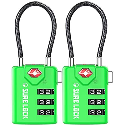 SURE LOCK TSA Compatible Travel Luggage Locks, Inspection Indicator, Easy Read Dials - 1, 2 & 4 Pack