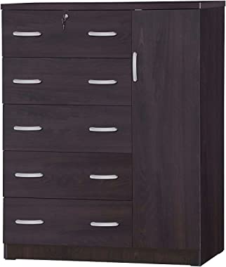 Better Home Products JCF Sofia 5 Tall Chest Drawer with Wardrobe Cloths Storage or Cloths Organizer (Tobacco)