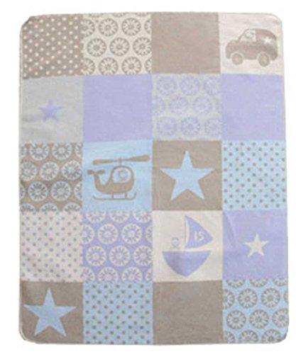 Baby und Kinderdecke Juwel Patch blau (David Fussenegger) Personalisiert mit Namen