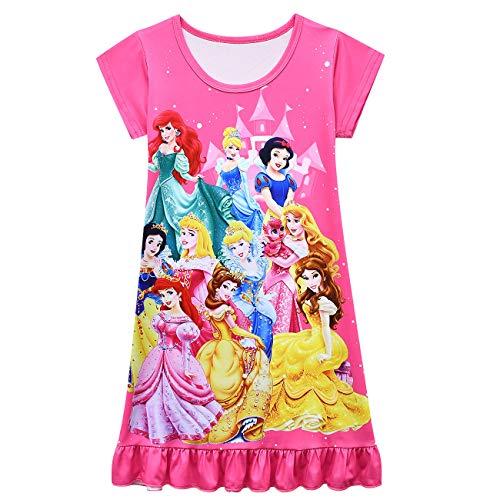 WNQY Little Girls Princess Dress Toddler Loose Cartoon Printed Dress (2-3T, Rose 73)