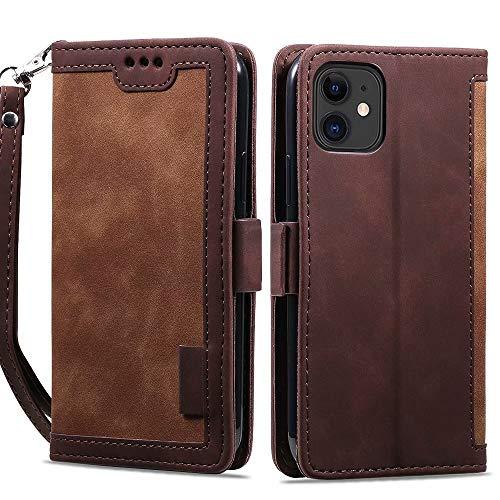 ROSEHUI - Funda tipo cartera compatible con iPhone 12 Pro Max Ultra Retro de piel con cierre magnético y tarjetero para iPhone 12 Pro Max Marrón