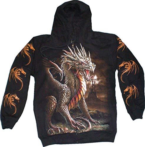 Evil Wear Pullover Sweatshirt Hoodie schwarz Motiv Drache Kaputzen Jacke S-XL (M): Größe: XL