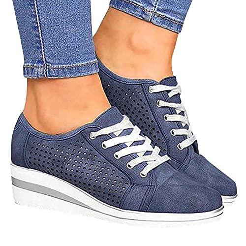 BIBOKAOKE Damen Freizeitschuhe Flache Schuhe mit Keilabsatz Schnürhalbschuhe Bequeme Mesh Atmungsaktiv Damen-Sneaker Freizeit Turnschuhe Wanderschuhe Sportschuhe Laufschuhe