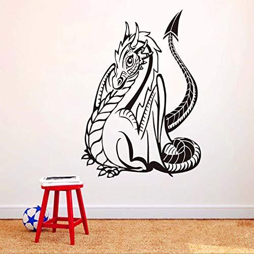 ZGQQQ Riesige Monster Gotik Drachen Silhouette Wandtattoos Kunst Aufkleber Selbstklebende Tier PVC...