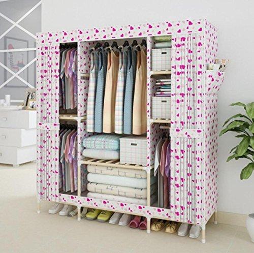 LyMei Stoffschränke, Portable Wardrobe Storage Massivholz große einfache Garderobe Oxford Tuch Closet Organizer Lagerung Faltbare Garderobe,D_150*46 * 170cm