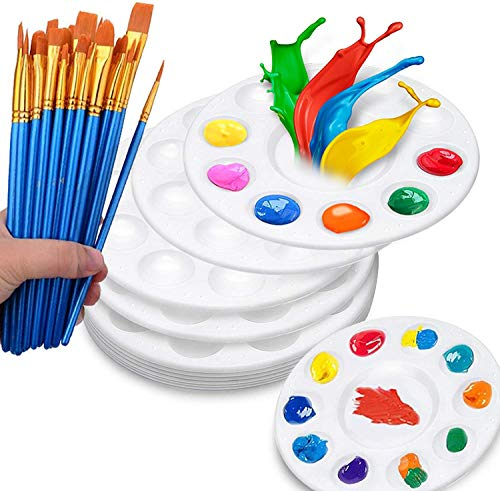 Hulameda 50 Pcs Paint Brushes with 12 Pcs Paint Pallet Trays for Kids and Adults to Create Art Paint