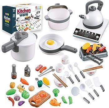 QUQUMA 52-piece Pretend Play Cookware Set with Pots and Pans