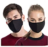 3PCS Dust Masks, Fayet Unisex Anti Pollen Allergens Mouth Muffle Reusable Cotton Gauze Mask with PM2.5 Activated Carbon Filter Travel Outdoor Cycling Ski Warm Face Mask