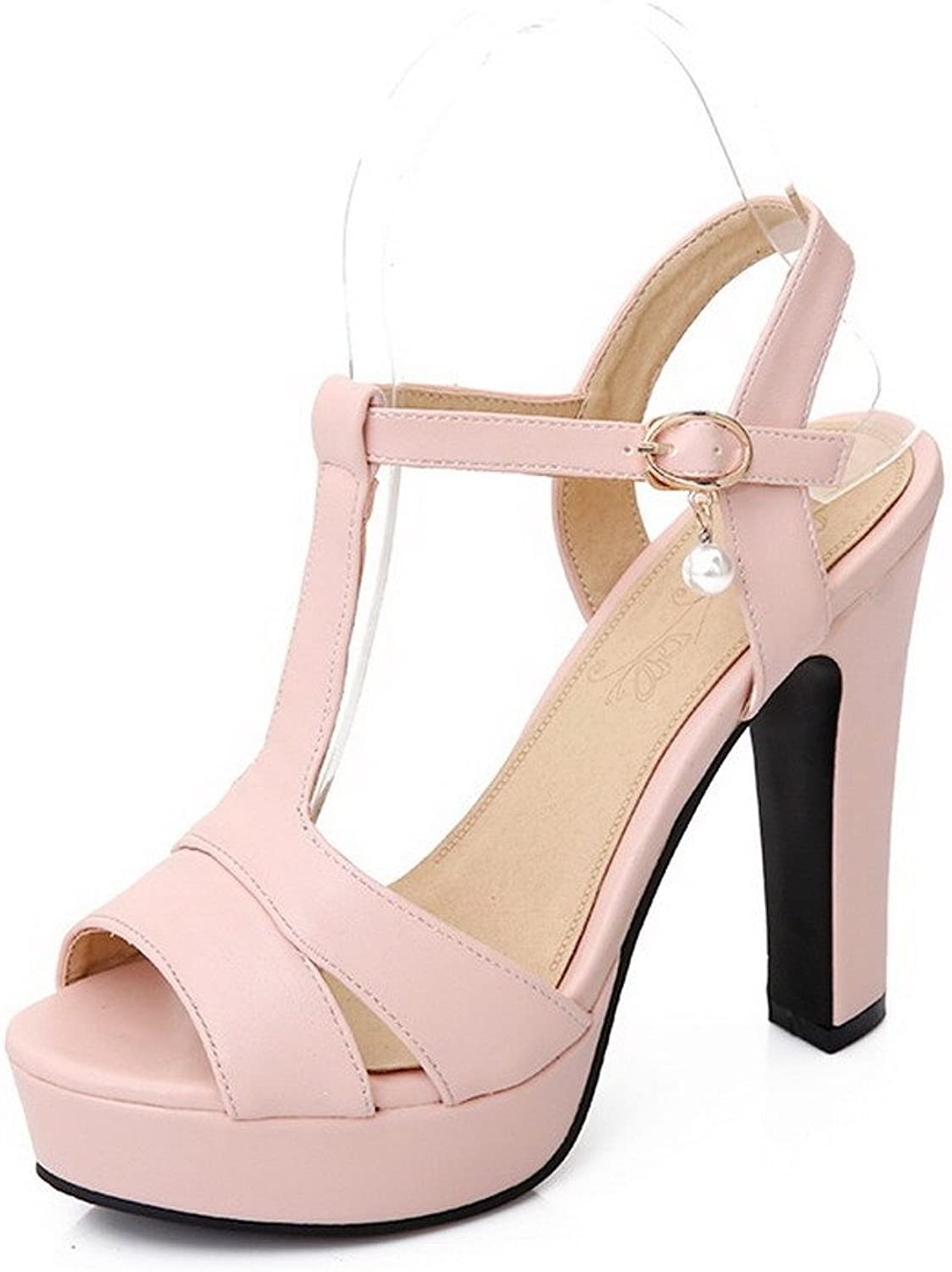 WeenFashion Women's Peep Toe High-Heels Soft Material Solid Buckle Heeled-Sandals