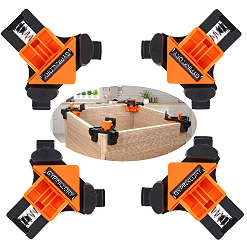 4pcs 90 Degree Angle Clamps, Corner 90° Woodworking Corner Clip, Right Angle Clip Fixer, Clamp Tool with Adjustable Hand Tools (4PCS7)