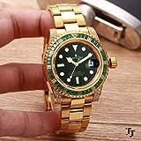 YSSWATCH Reloj Mecánico Automático para Hombres Clásico Plata Oro Amarillo Diamante Arco Iris Azul Verde Acero Inoxidable Relojes De Zafiro