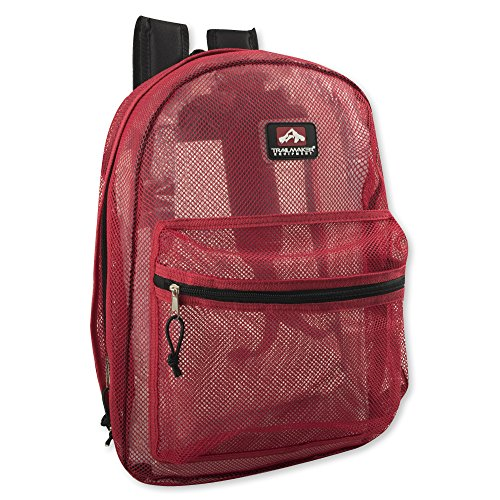 Transparent Mesh Backpacks for School Kids, Beach, Travel - Mesh See Through Backpack with Padded Straps (Red)
