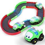 Auto Giocattoli per Bambino, Cartoon Macchina per Bambini Colorato Traccia Costruzione Macchina Giocattoli, Mini Pista Auto Giocattolo per Ragazzi & Ragazza, Giocattoli Educativi per Bambini 18+ Mesi