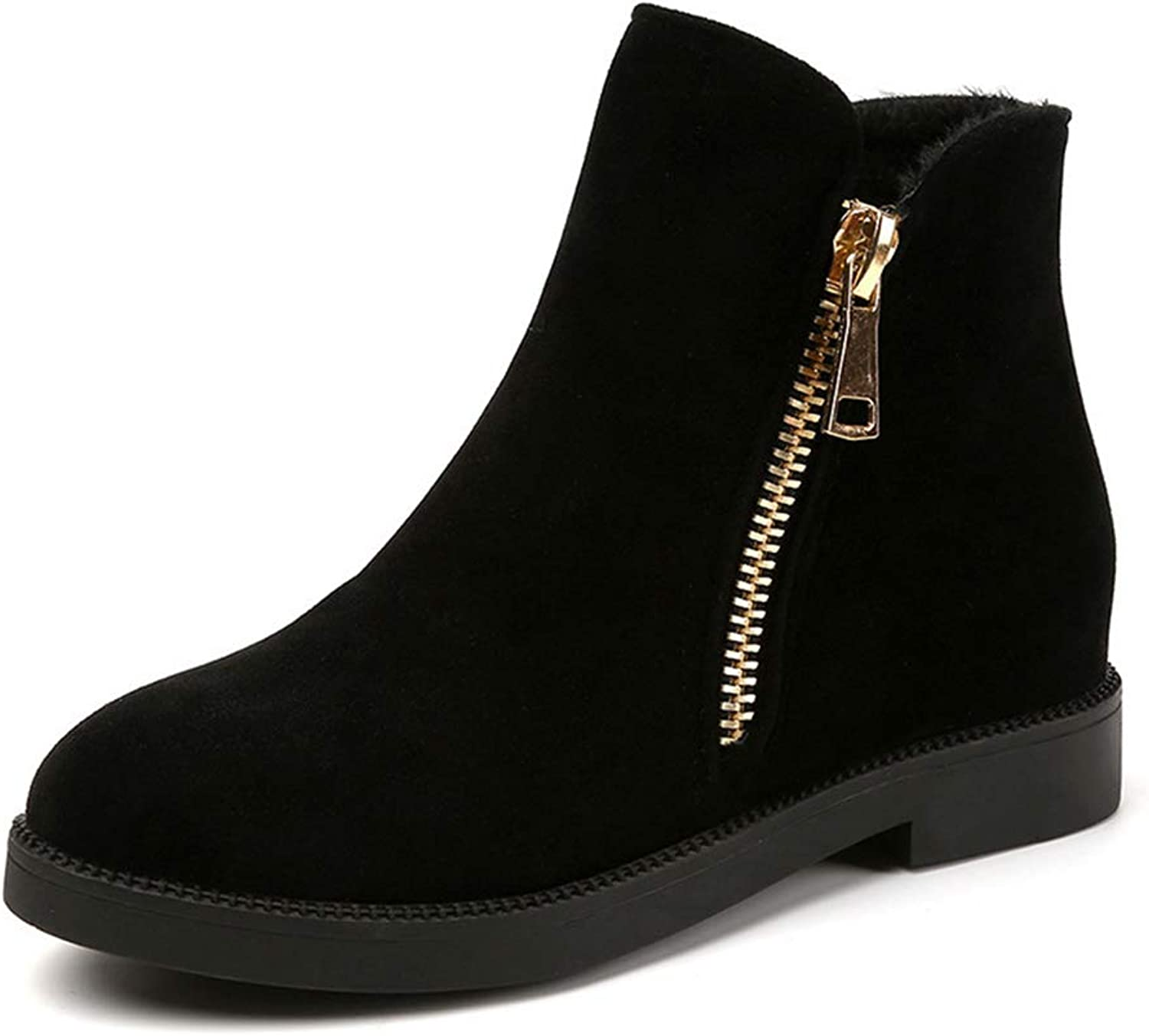 T-JULY Boots shoes Ankle Boots Women Autumn Winter Boots Round Toe Girls shoes Zipper Fashion