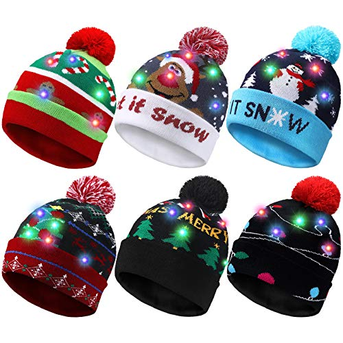 6 Pieces LED Christmas Hat LED Lights Sweater Hat Unisex Winter Beanie Knit Cap with 6 Colorful LED Lights for Christmas Holiday Party Supplies