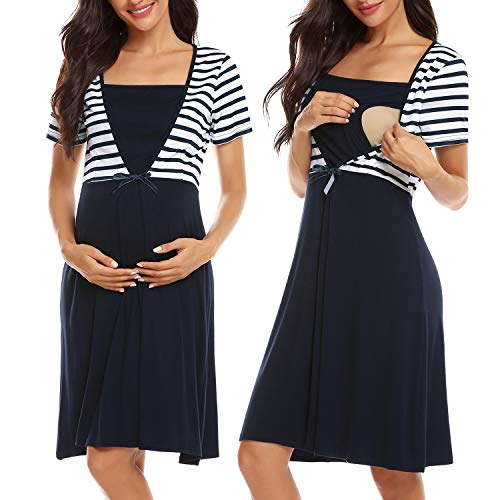 Irevial Camisón Premamá algodón, Raya Pijama Lactancia Hospital Manga Corta,Maternidad Ropa para Dormir Verano,Azul,s
