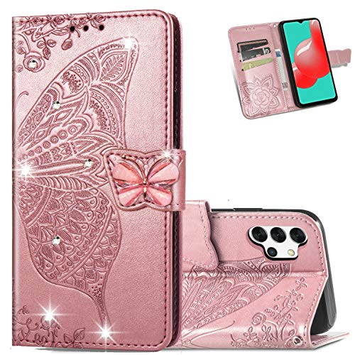 Samsung Galaxy A32 5G Women Wallet Case, 3D Butterfly Flower Slim Flip PU Leather Phone Case Kickstand Wrist Strap Credit Card Slots Protective Cover for Samsung Galaxy A32 (Rhinestone Rose Gold)