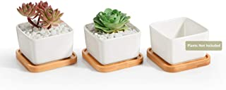 Opps 3.54 Inch White Ceramic Contemporary Square Design Succulent Plant Pot/Cactus Plant..