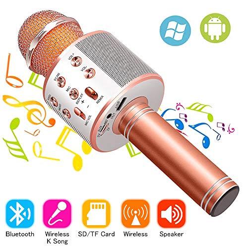 Phiraggit Wireless Bluetooth Karaoke Mikrofon, tragbare Bluetooth Handheld Karaoke Lautsprecher Player Maschine für Kinder Erwachsene Home KTV Party für Android/Iphone/Ipad/Pc
