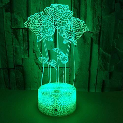 Luz de noche 3D de flor de rosa para niños, niñas, regalo, lámpara de ilusión 3D para dormitorio al lado de la mesa, lámpara de mesa de escritorio con 16 colores cambiantes, regalo para niños