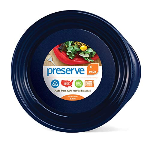 Preserve Everyday BPA Free Dinner Plates Made from Recycled Plastic in the USA, Set of 6, Midnight Blue