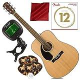 Fender CD-60S LH Dreadnought Left Handed Acoustic Guitar, Natural with Guitar Strings, Picks, Tuner & Cloth Bundle